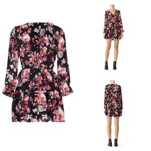 Joie | Joada Floral Ruffle Neck Silk Dress XS